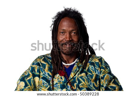 Man with dreadlocks looking happy, isolated on white - stock photo