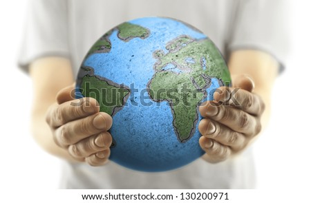 man with earth on white background - stock photo
