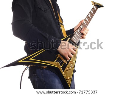 man with electric guitar on white