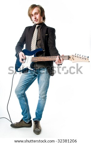 Man with electro guitar, isolated on white background - stock photo