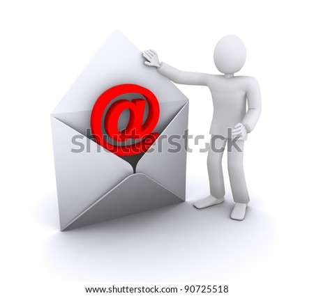 man with email envelope