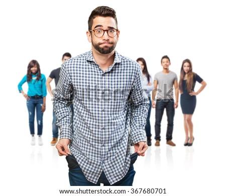 man with empty pockets - stock photo