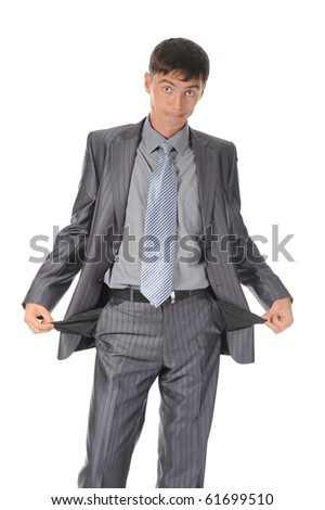 man with empty pockets. Isolated on white background - stock photo