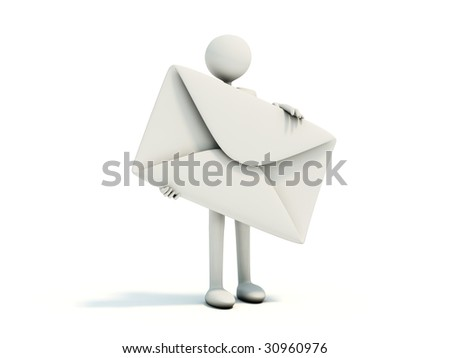 Man with envelope isolated on white - stock photo