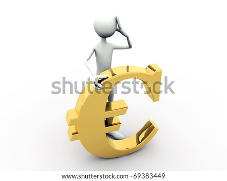 man with euro sign isolated on white background