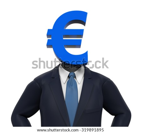 Man with Euro Symbol Head - stock photo