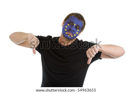man with european union flag painted on his face showing two thumbs down, isolated on white background - stock photo
