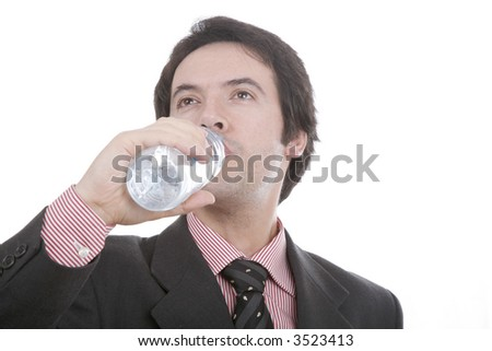 man with fact and necktie to drink water, in deep white... - stock photo