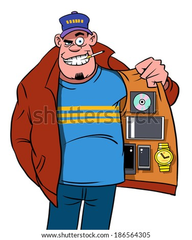 Man with fakes and illegal or stolen media - stock photo