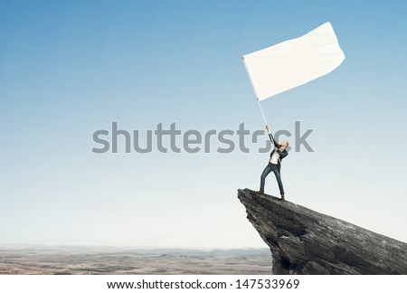 Man with flag - stock photo