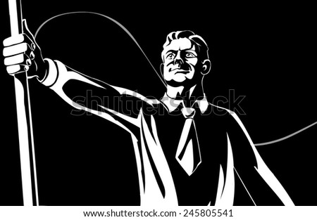 man with flag, black and white illustration - stock photo