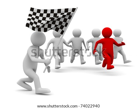 man with flag on white background. Isolated 3D image - stock photo
