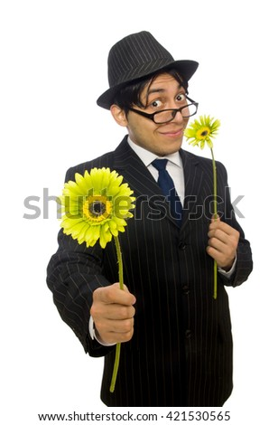 Man with flowers isolated on white - stock photo