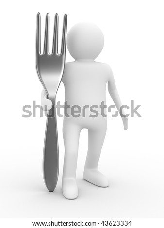 man with fork on white background. Isolated 3D image - stock photo
