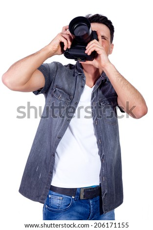 Man with fotocamera - stock photo