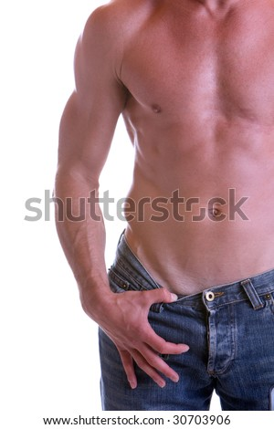 Man with free upper part of the body (left side) - stock photo