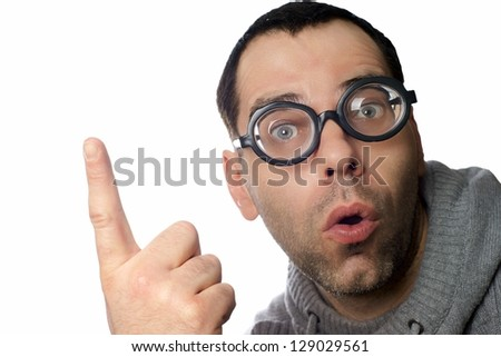 Man with funny glasses pointing up / pointing up