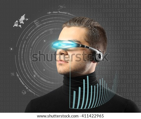 Man with futuristic glasses - future concept - stock photo