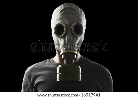 man with gas mask clipping path included - stock photo