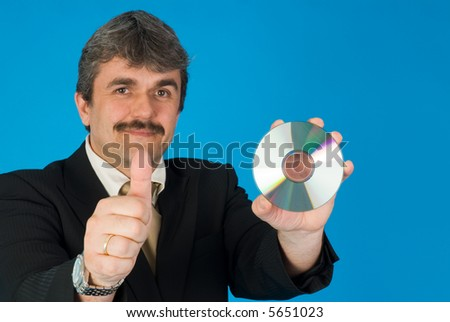 man with gesture and CD - stock photo