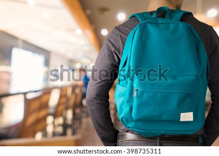 Man with Green backpack .Education Photo for magazine ,or design work