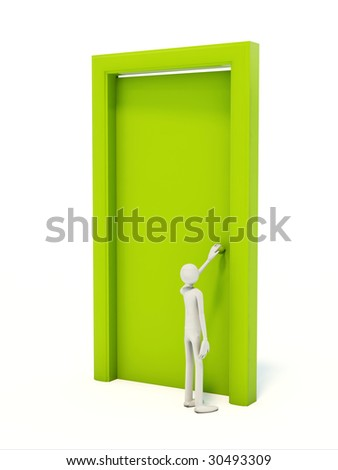 Man with green door isolated on white