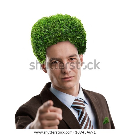 Man with green tree instead of hair. Ecological mind concept. Isolated on white background - stock photo