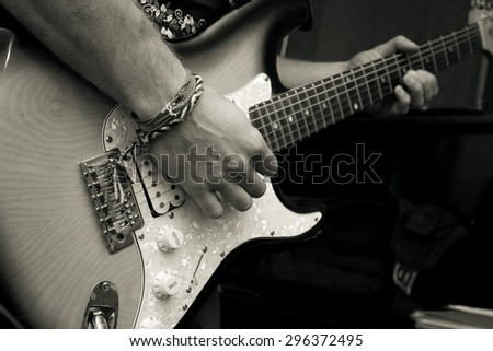 Man with guitar - stock photo