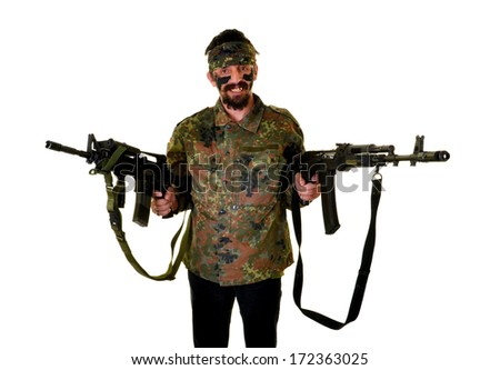 man with gun - stock photo