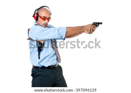 Man with gun isolated in white - stock photo