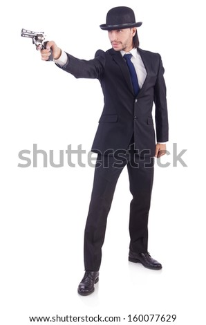 Man with gun isolated on the white
