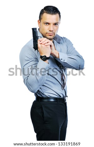 Man with gun isolated on white - stock photo