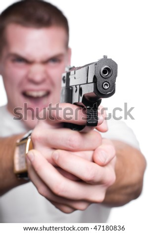man with  gun  isolated on white