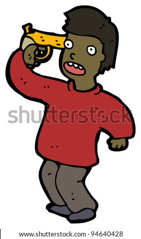 man with gun to own head cartoon - stock photo
