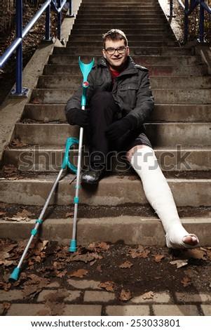 Man with gypsum - stock photo