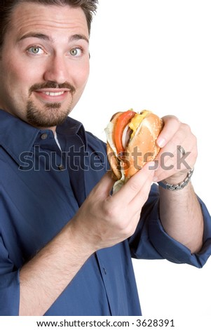 Man with Hamburger - stock photo