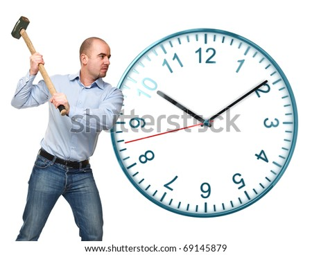 man with hammer and classic watch isolated on white background