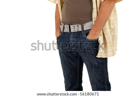 man with hand in pocket isolated on white