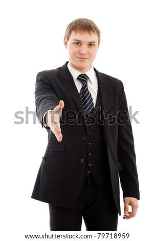 Man with handshake. Isolated over white. - stock photo