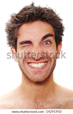 Man with happy facial expression