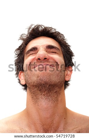 Man with happy facial expression - stock photo