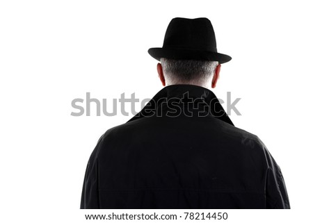 Man with hat from behind - stock photo