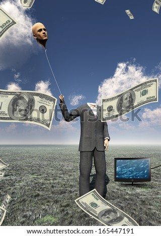 Man with head flaoting balloon and US currency - stock photo
