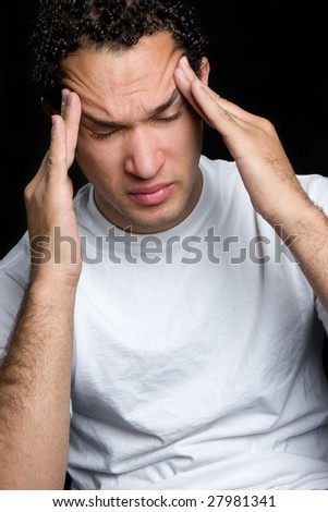 Man With Headache - stock photo