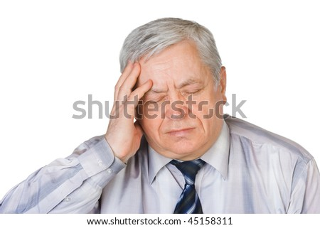 Man with headache isolated on white background - stock photo