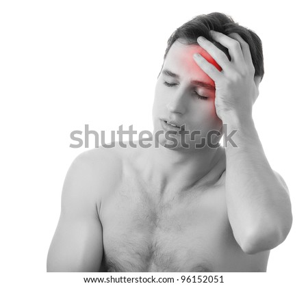 man with headache  isolated on white background, monochrome photo with red as a symbol for the hardening - stock photo