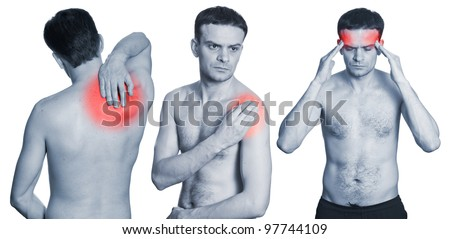 Man with headache, neck in pain and shoulder having ache isolated on white background. Monochrome photo with red - stock photo