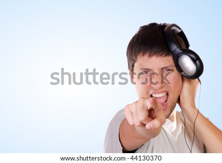 Man with headphone on his head listening music