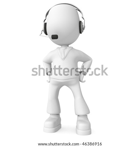 Man with headphones. 3d image isolated on white background. - stock photo