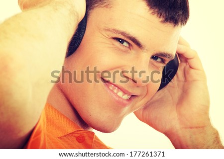 Man with headphones listenting to music